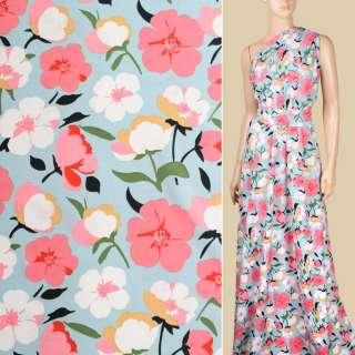 Поплин голубой, белые, розовые цветы, ш.150