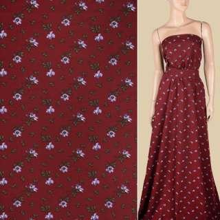 Поплин бордовый, мелкие сиреневые цветы, ш.150