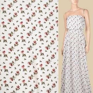 Поплин белый, мелкие фрезовые цветы, ш.150
