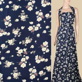 Поплин синий темный, белые цветы, ш.151