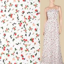 Поплин белый, красные, персиковые цветочки, ш.152