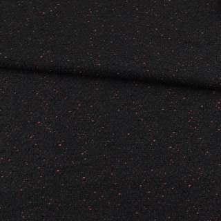 Рогожка букле пальтово-костюмная с шерстью черная с вишневыми вкраплениями ш.151