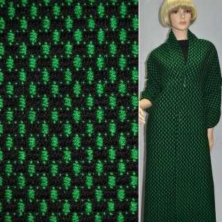 Тканина букле-рогожка чорна з зеленим ш.140