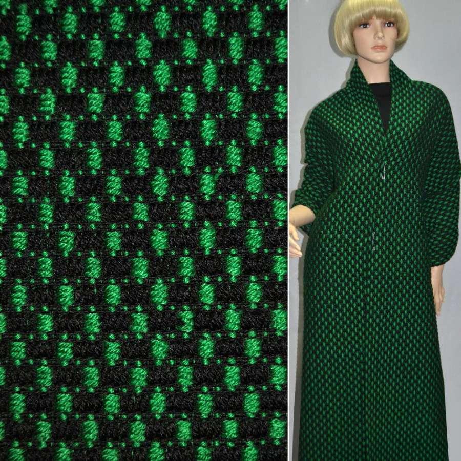 Ткань букле-рогожка черная с зеленым ш.140