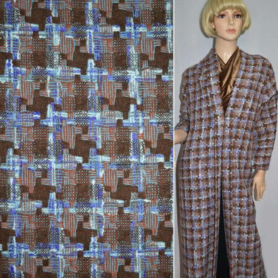 Ткань костюмная коричневая в квадрат и фиолетовые полосы