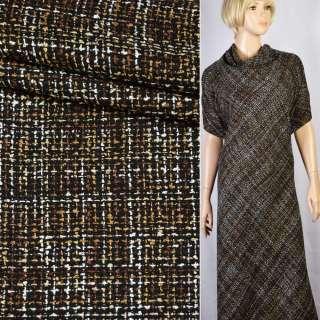 Шанель рогожка черно-коричнево-белое плетение ш.148