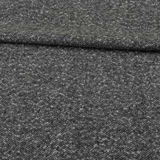 Рогожка букле костюмная черно-серая елочка меланж, ш.153