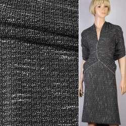 Рогожка черная с белыми штрихами ш.150