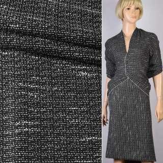 Шанель рогожка черная с белыми штрихами ш.150
