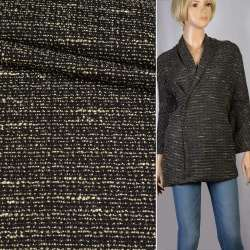 Рогожка чорна з жовтими штрихами ш.150