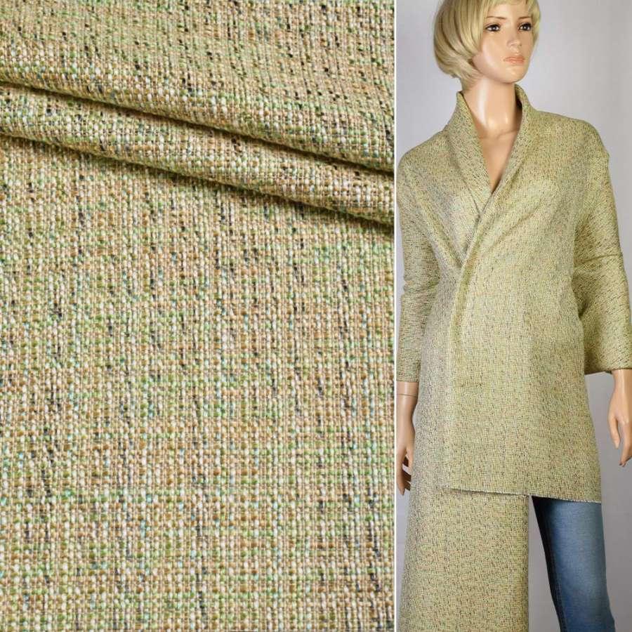 Рогожка зелено-молочно-лаймовая ш.150