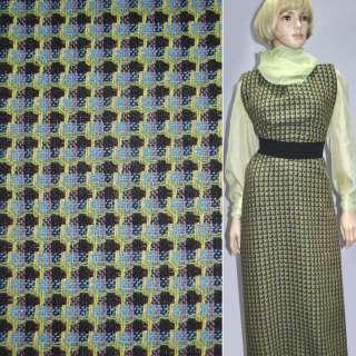 Ткань костюмная зеленая в черные и голубые полосы эксклюзив, ш.150