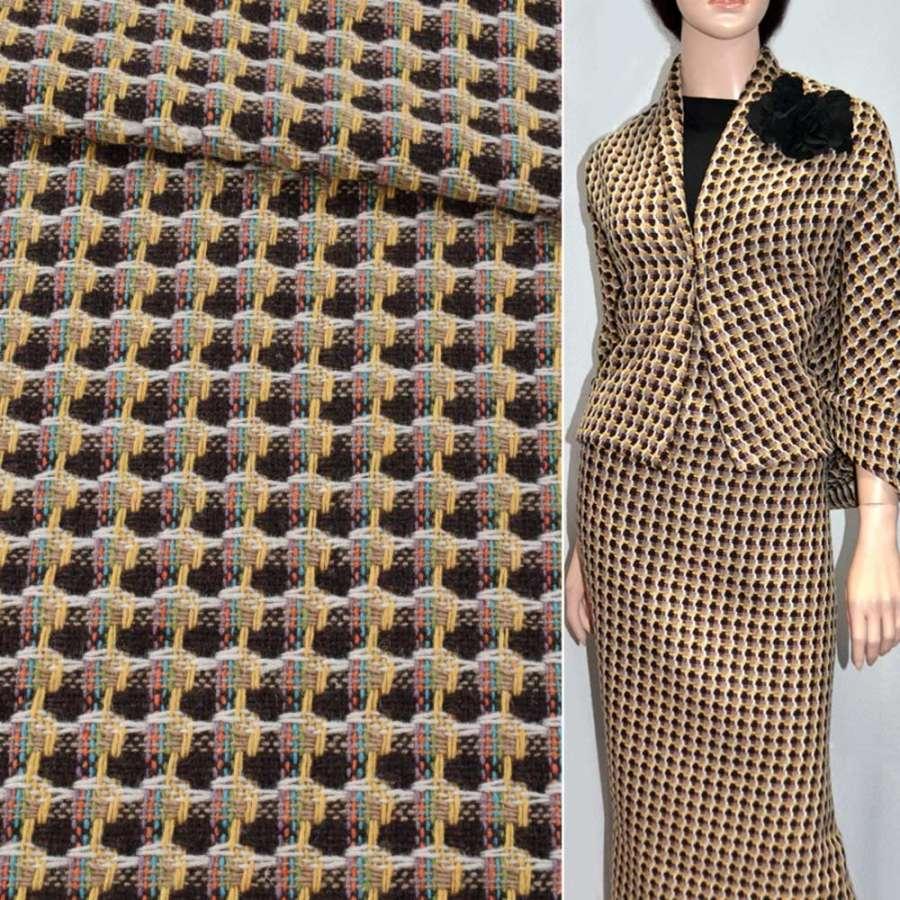 Ткань костюмная коричневая с бело-желтыми полосами эксклюзив, ш.150