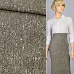 Ткань костюмная стрейч в рубчик оливково-молочная, ш.120
