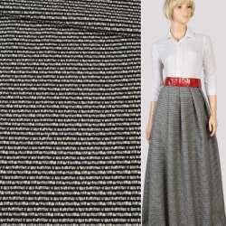 Рогожка чорна з білою меланж смугою, ш.150
