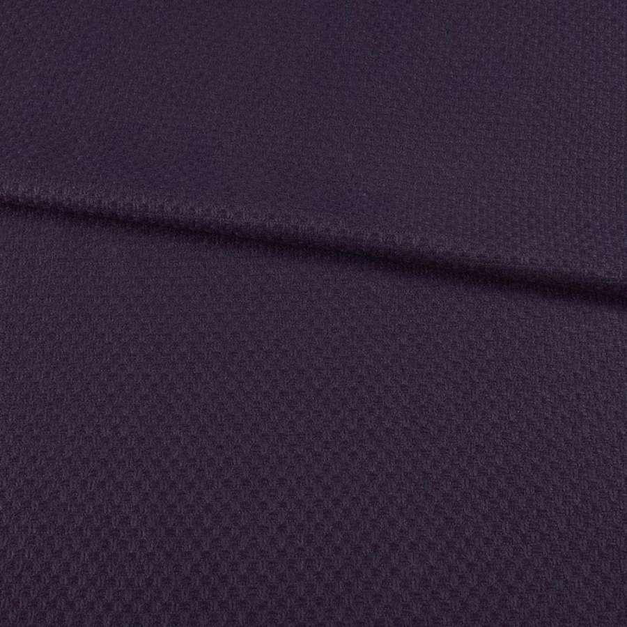 Рогожка фиолетовая в рельефную клетку, ш.147