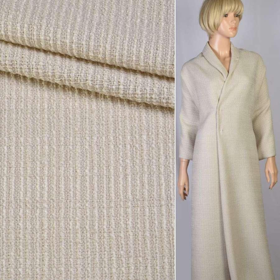 Рогожка-букле полушерсть букле молочная крупное плетение ш.150