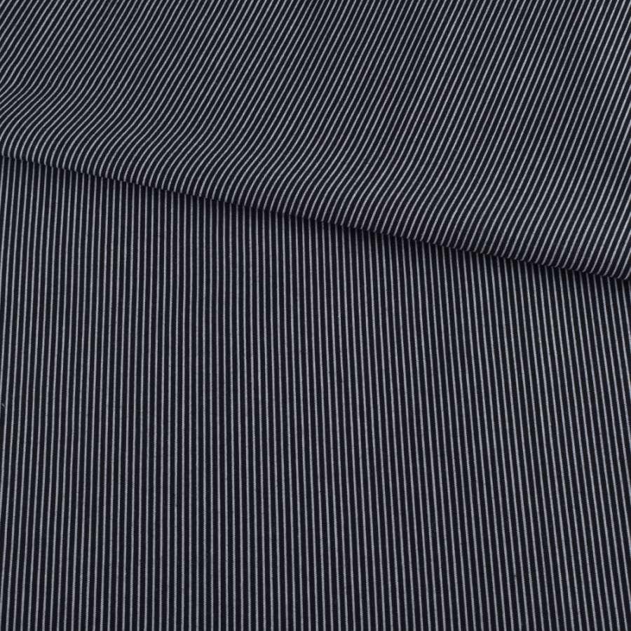 Віскоза сорочкова чорна в тонку білу смужку ш.147