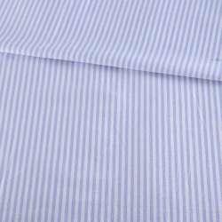 Тканина сорочкова в біло-блакитну смужку 3мм, ш.145