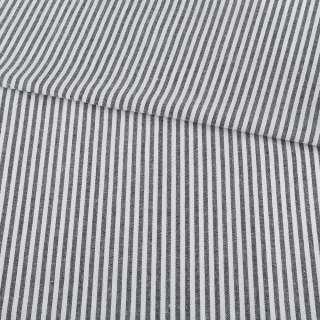 Ткань рубашечная в черно-белую полоску 4мм ш.145