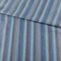 Тканина сорочкова блакитна в сіро-синьо-бежеві смужки ш.145