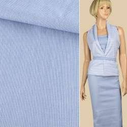 Тканина сорочкова стрейч біло-блакитна ш.140