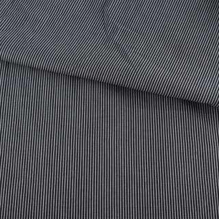 Ткань рубашечная синяя в узкую белую рельефную полоску ш.146