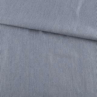 Ткань рубашечная синяя темная в узкую белую полоску ш.147