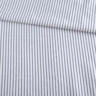 Ткань рубашечная белая в тонкую синюю полоску ш.147
