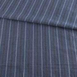 Тканина сорочкова синя в чорно-блакитну смужку, ш.145