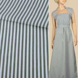 Тканина сорочкова в біло-зелену смужку 6мм, ш.150
