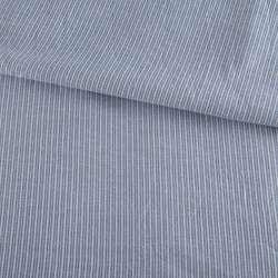 Тканина сорочкова біла в сіро-блакитну смужку, ш.140