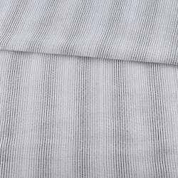Тканина сорочкова жата молочна в бежево-сірі смужки, ш.147
