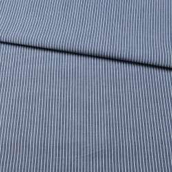 Тканина сорочкова синя в тонку білу смужку, ш.150