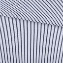 Тканина сорочкова біла в вузьку синю смужку ш.150