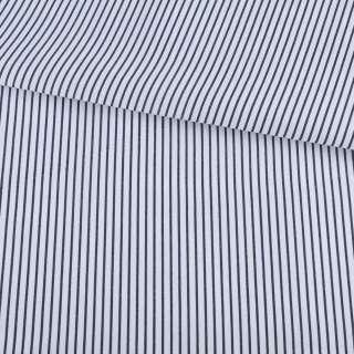 Ткань рубашечная белая в узкую синюю полоску ш.150
