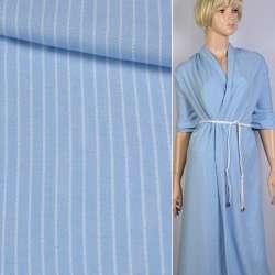 Вискоза рубашечная голубая светлая в белую полоску 5*1 ш.140