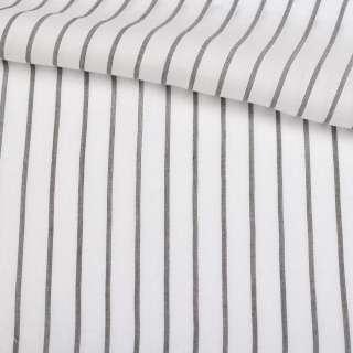 Вискоза рубашечная белая в черную полосу 10*1мм ш.147