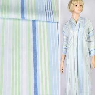 Ткань рубашечная белая в синюю, голубую, салатовую полоску, ш.145
