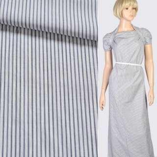 Ткань рубашечная белая в темно-синюю полоску, ш.150