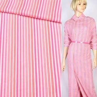 Ткань рубашечная в красно-розовую полоску, ш.150