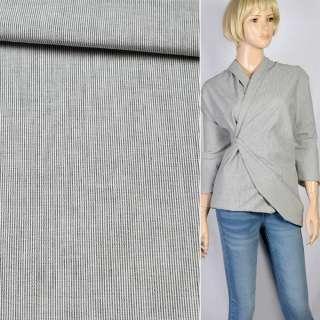 Ткань рубашечная в черно-белую полоску 1мм, ш.145