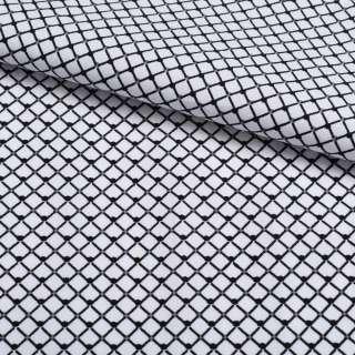 Коттон белый в черную сетку 5мм ш.140