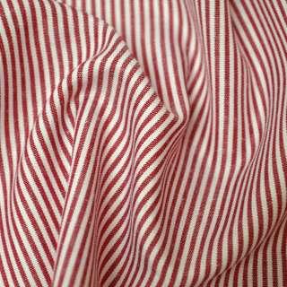 Ткань рубашечная в красно-белую полоску ш.140