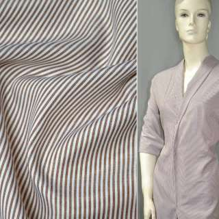 Ткань рубашечная в коричнево-белую полоску ш.142