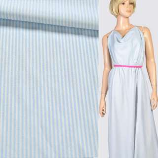 Тканина сорочкова біла в блакитну смужку, ш.145