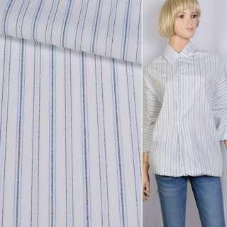 Поплін сорочковий білий в синю, блакитну смугу ш.150