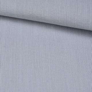 Поплін сорочковий в білу, блакитну дрібну смужку 1мм ш.143