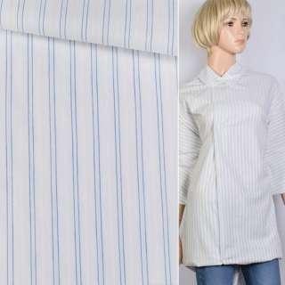 Поплін сорочковий білий в подвійну синю смугу ш.140