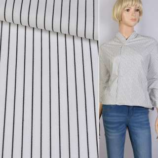 Поплін сорочковий білий в чорну смужку 1 * 6мм ш.145